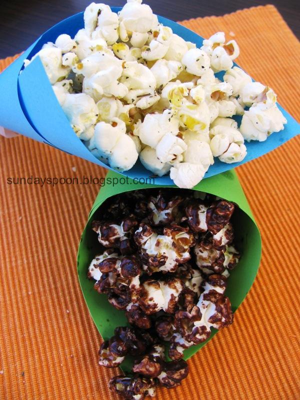 Ποπκορν σε δύο εκδοχές (με τυρί & με σοκολάτα)