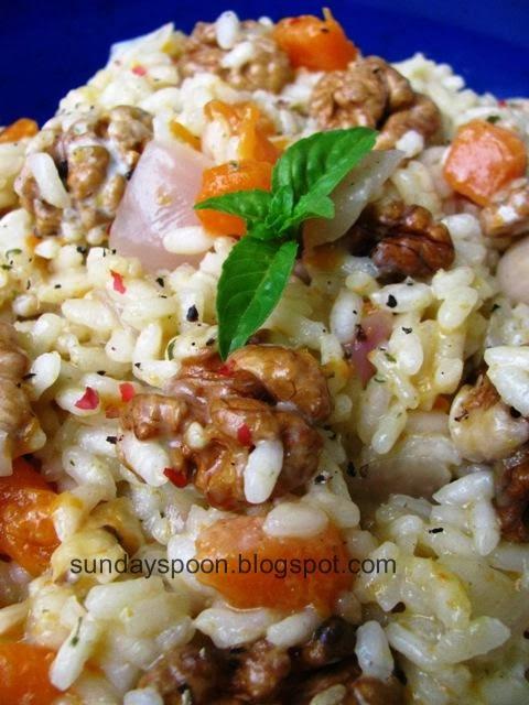 Ριζότο με κολοκύθα και καρύδια