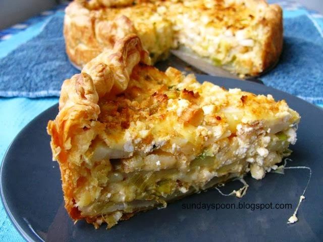 Τούρτα πατάτας με τυριά και πράσο