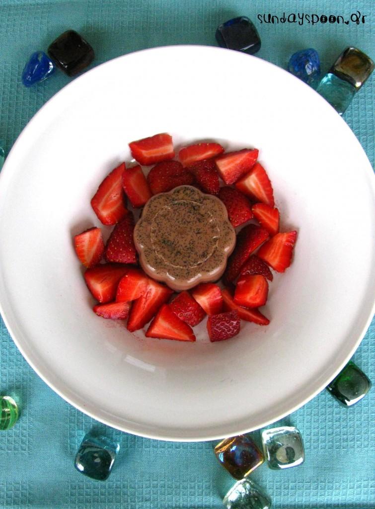 Πανακότα με νουτέλα και φρέσκιες φράουλες
