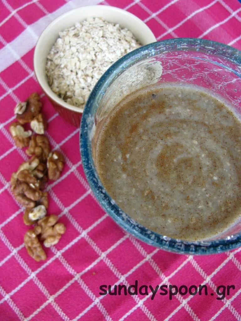 Δυναμωτικός χυμός με φρούτα, ξηρούς καρπούς και βρώμη